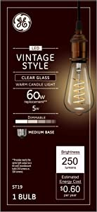 GE Lighting 36506 Clear Finish Light Bulb Dimmable LED Vintage Style ST19 5 (60-Watt Replacement), 250-Lumen Medium Base, 1-Pack, Warm Candle