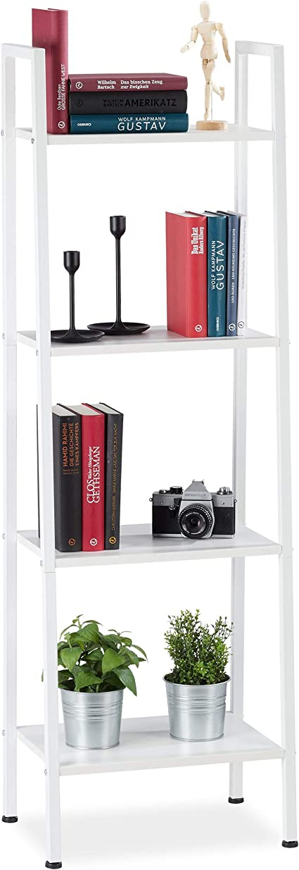 Relaxdays Estantería Industrial de pie, Cuatro estantes, 136 x 44 x 31,5 cm, Blanco, Aglomerado, Hierro