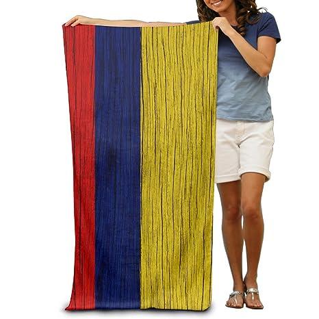 Toallas de playa Yissalvunaz de textura de madera con la bandera de Colombia, toallas de