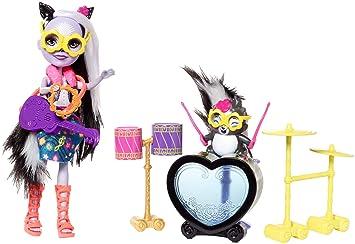 Enchantimals Muñeca Sage Skunk Y Su Batería Rockera, (Mattel FRH41)