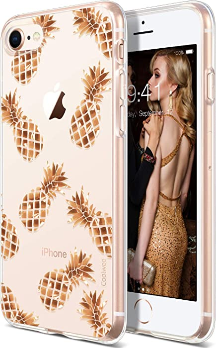 COOLWEE iPhone SE 2020 Case 2nd Generation, iPhone 8 Case, Clear iPhone 7 Case Rose Gold Shiny Glitter Cool Thin Floral Soft TPU Bumper Protective Cover for Apple iPhone 8 4.7 inch Rose Gold Pineapple