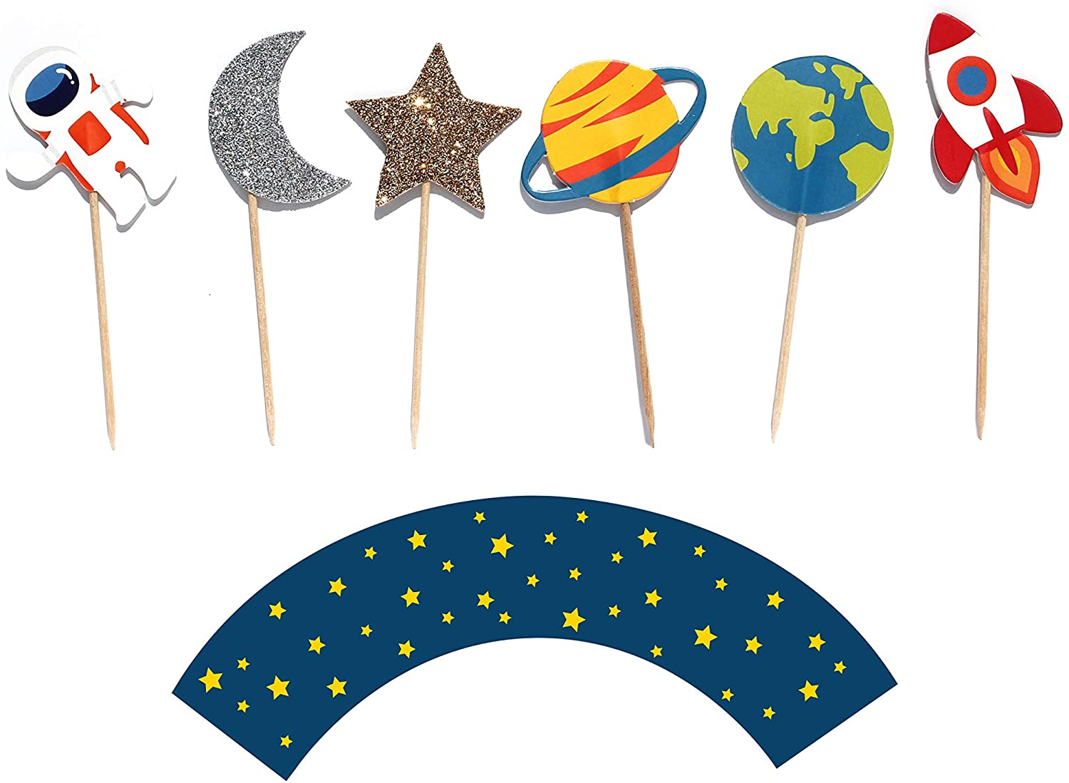 The man Happy Birthday Cake Topper Space Theme Cake Topper Silver Glitter Birthday boy girl baby Baby Shower Party DecorationBaby Shower Party Decoration