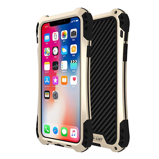 differently 1c2cd e943f iPhone X Case, R-JUST [Amira Series] Carbon Fiber Aluminum Armor Cover,  Heavy Duty Shockproof Metal Case for iPhone X (Blue)