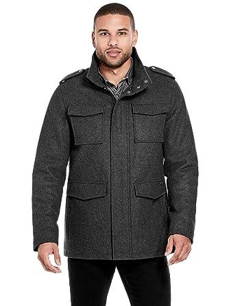 custom cost charm pre order GUESS Factory Men's Noah Wool-Blend Car Coat Charcoal Grey ...