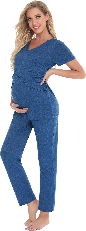 Camicia da Notte Estiva Premaman Maniche Corte con Pantaloni per Casa Parto Ospedale Allattamento Pigiama Due Pezzi Premaman da Donna Aibrou Pigiama Premaman Cotone