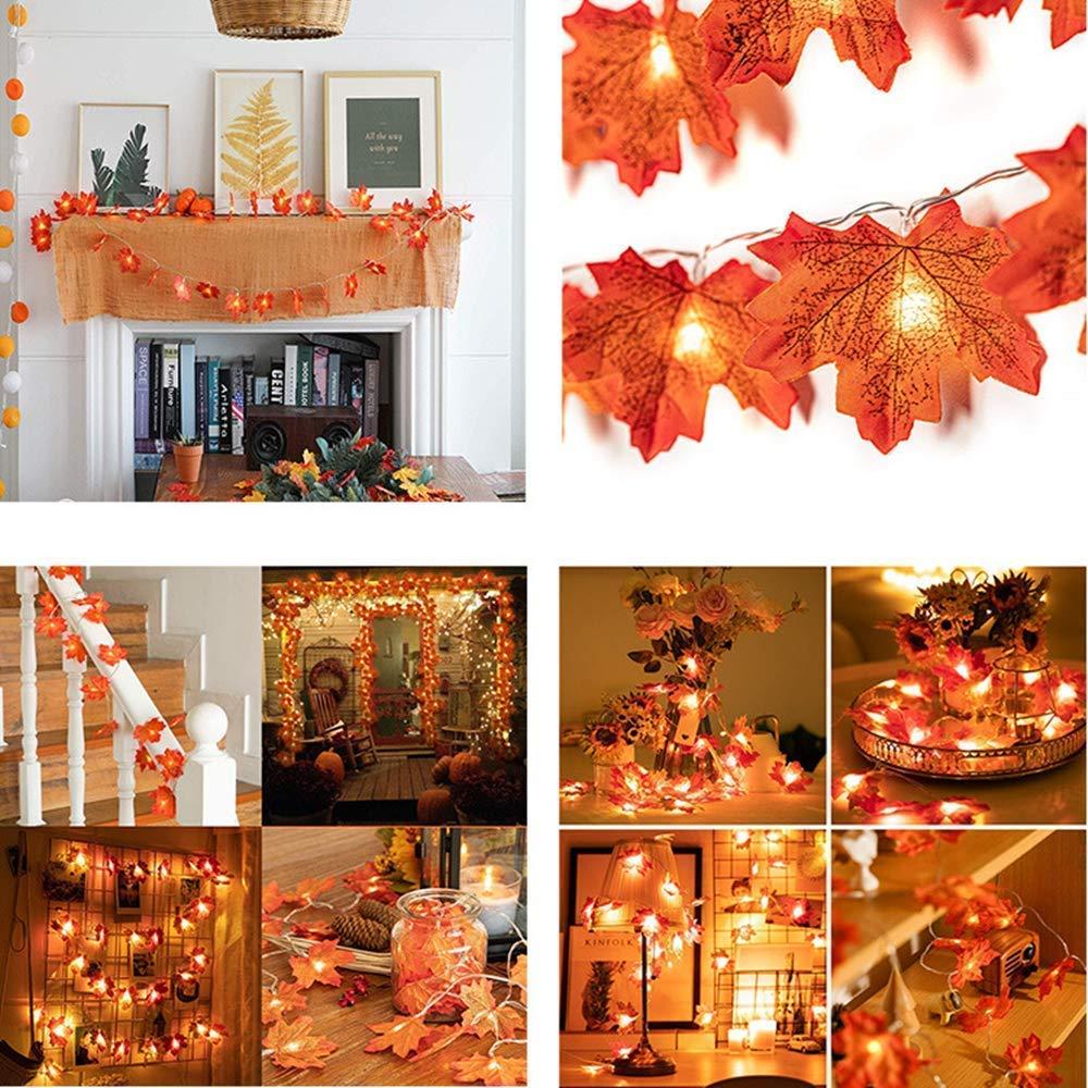 Navidad Gxhong Luces de Cuerda de Hoja de Arce,9.84 pies // 20 LED Luz de Cuerda de Guirnalda de oto/ño luz de Cuerda con bater/ía para acci/ón de Gracias Decoraciones de Fiesta bater/ía no incluida