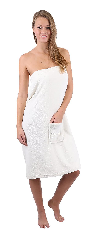 BETZ toalla para la sauna para mujeres de vellón de color azul y crema (señora/crema)