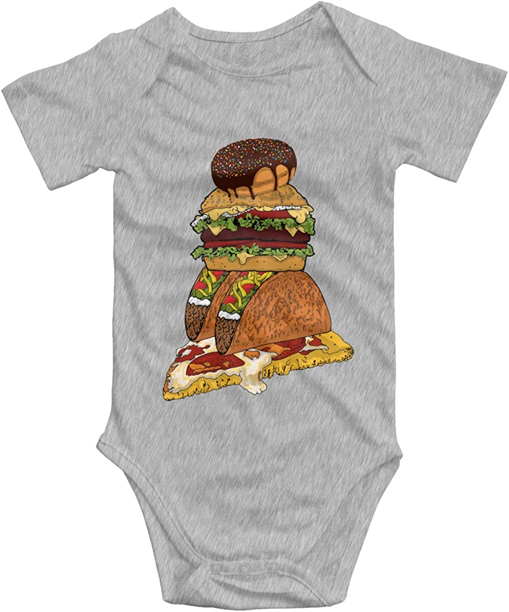 Junk Food Unisex Baby Onesies Funny Cute Soft Cotton Short-Sleeve Bodysuit for Boy Girls