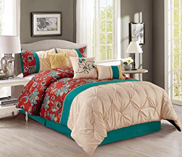 Pinch Pleat 7 Piece Bedding Teal Blue / Brick Red / Yellow / Beige  Embroidered King Comforter Set with accent pillows