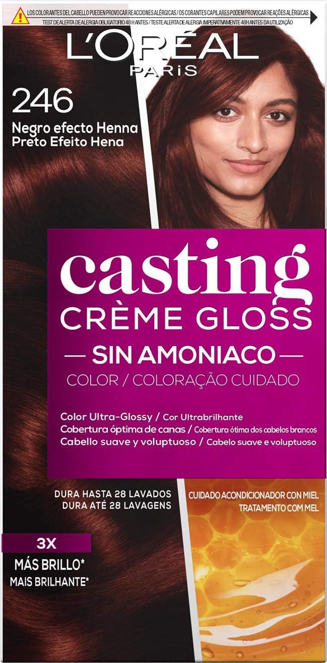 LOréal Paris Casting Créme Gloss Coloración Sin Amoniaco, Tono 246 Negro Efecto Henna - 3 Paquete de 1 unidad