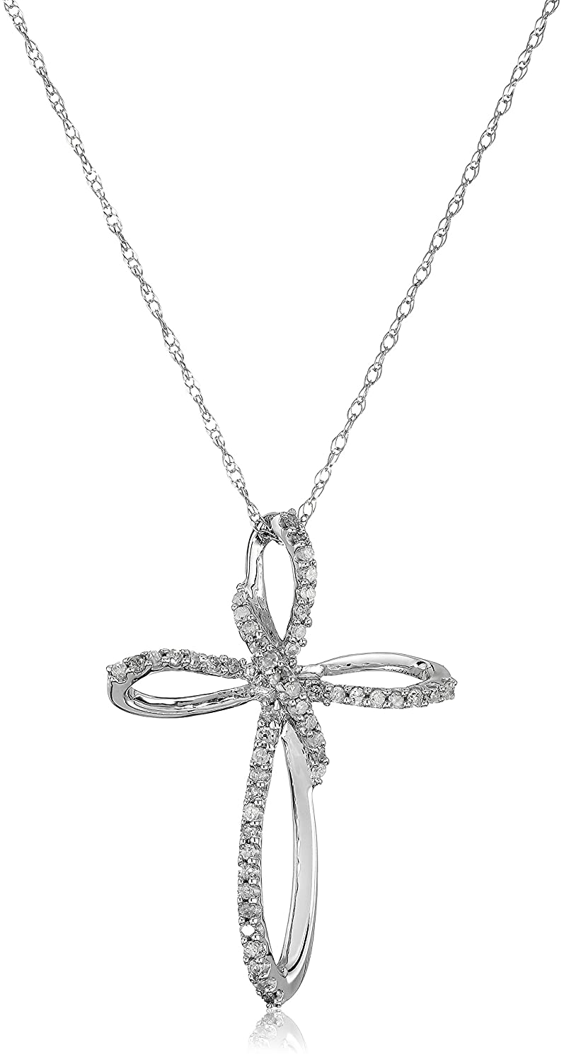 fd60ea77dd176 10K White Gold Diamond Cross Pendant Necklace (1/5 cttw), 18