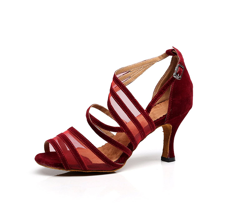 Minitoo QJ7036,Chaussures de Tango Mode en Daim à Lanières Femme