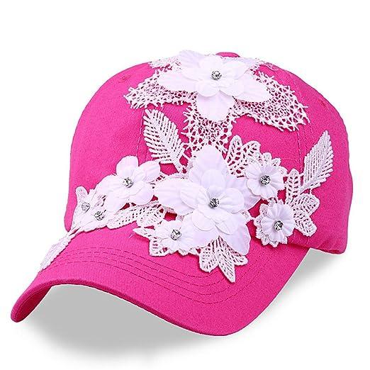 Rhinestone Flower Baseball Caps Women Snapback Golf Sun Hats Adjustable  (Hot Pink) 994f09c4d03