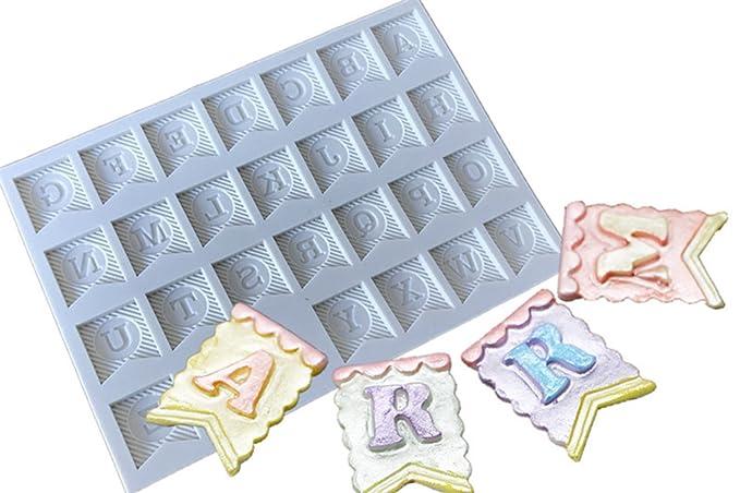 Hosaire Molde de Silicona de Pastel Molde de Fondant DIY Decoración de Repostería Pastel Cookie Letras inglesas (Banderines): Amazon.es: Hogar