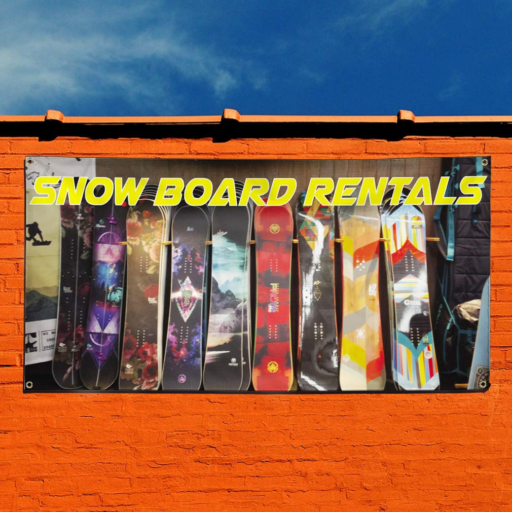Set of 3 4 Grommets 24inx60in Multiple Sizes Available Vinyl Banner Sign Snow Board Rentals #1 Style A Sports Marketing Advertising White