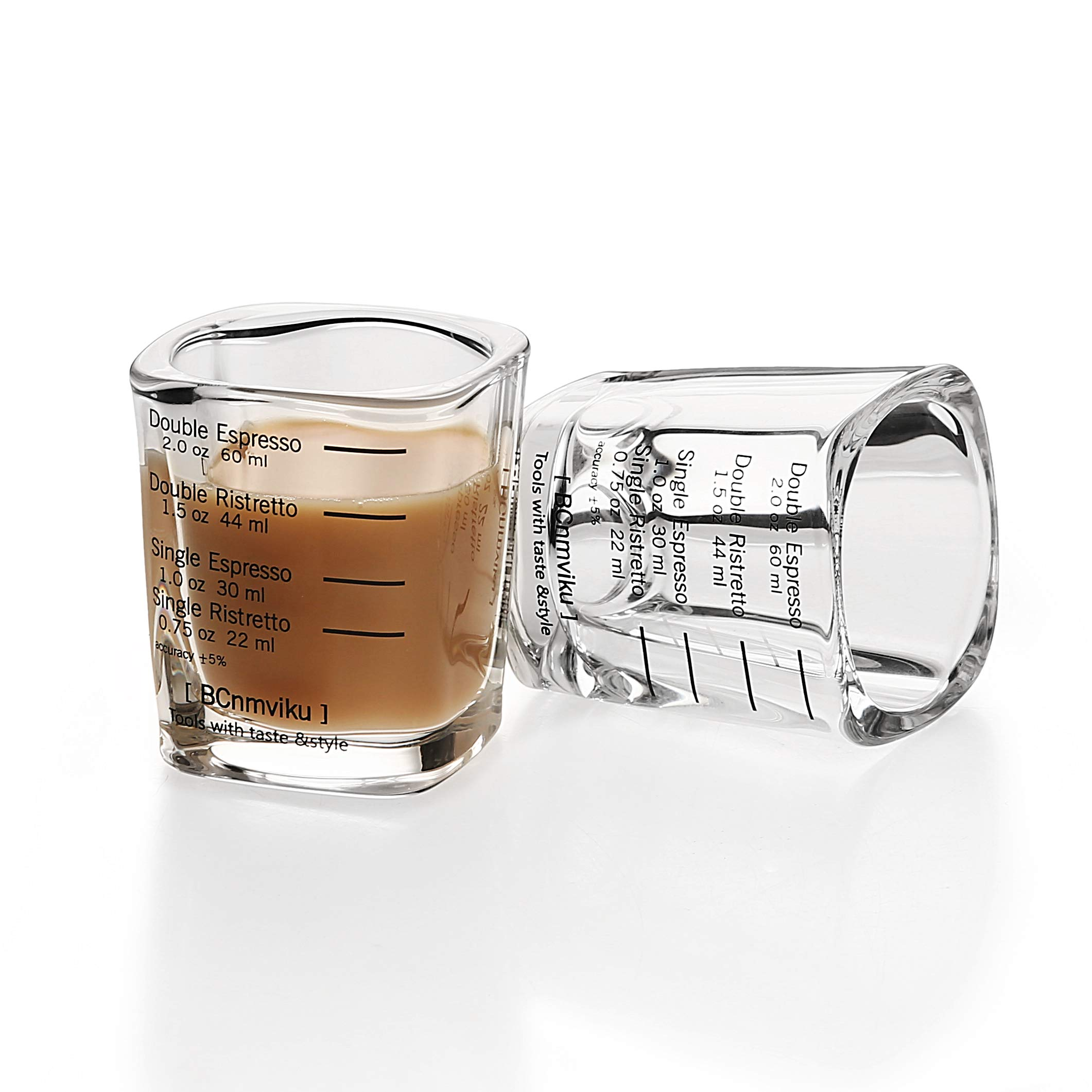 2-Pack Espresso Shot Glass Set Measuring Shot Glasses Heavy Base 2 Ounce 2.4 inch Tall Tumbler Cup for Coffee Jello Shot (2 pack)