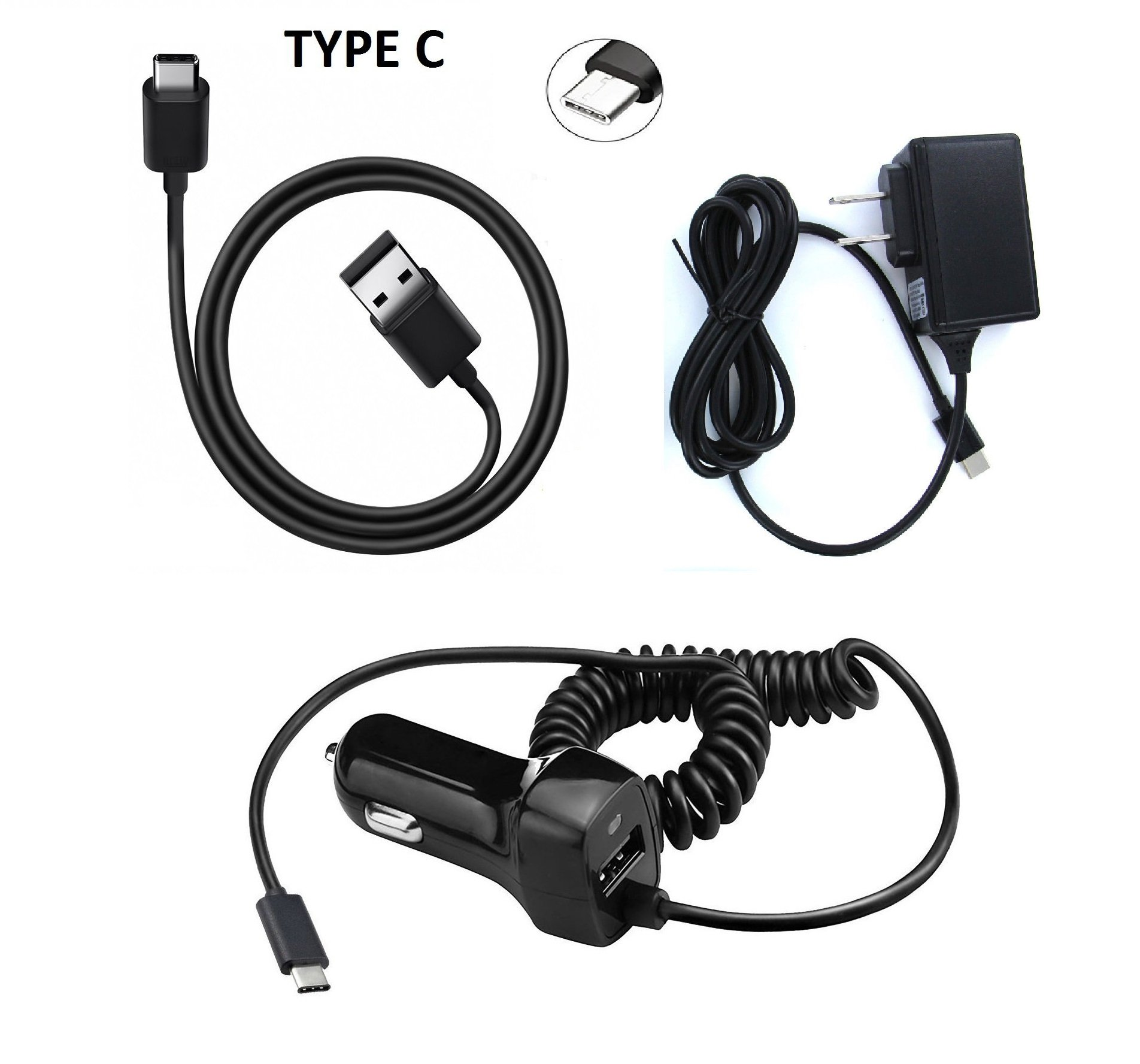 Type C Bundle USB + Wall + Car Charger for LG Stylo 4 | Q Stylus | Stylo 4 PLUS 2018 + Gift Stand