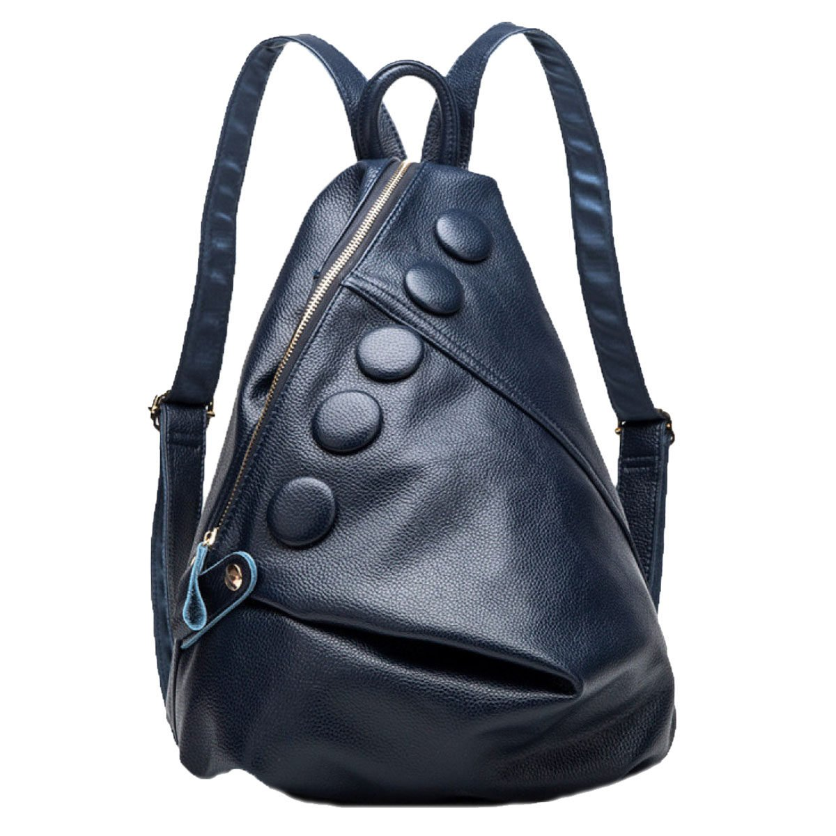 bluee M Ladies Genuine Leather Backpack Medium Cool Style Shoulder Bag With Five Buttons