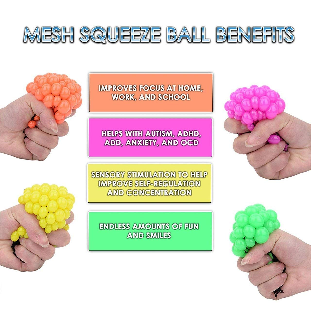 Totem World 36 Colorful Sewn Mesh Stress Balls - 2.4'' Squishy Fidget Toy Perfect for Kids and Adults Materials for Lasting Use - Squeeze Balls for Anxiety and Concentration - Great Party Favors by Totem World (Image #3)