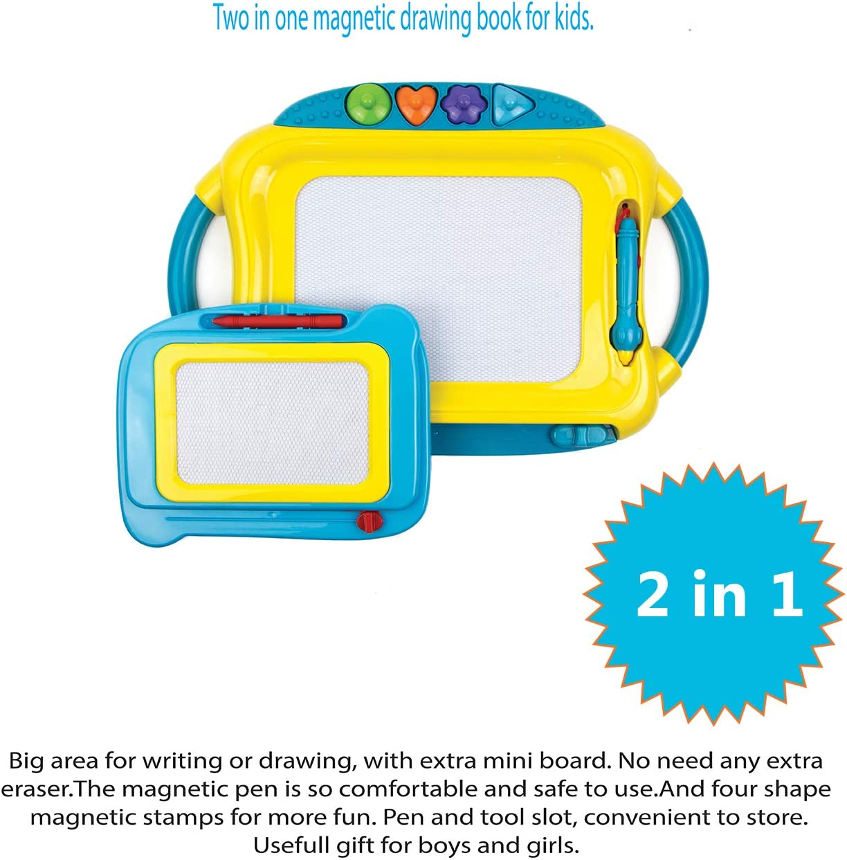 Double Doodle Board Book with 4 Beautiful Stamps and 2 Pens Educational Toy Toysery Magnetic Drawing Board Books for Babies Smart Writing Board for Drawing Games Large Magnetic Board for Kids