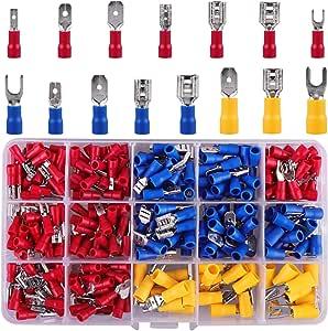 Conectores Eléctricos, 330 piezas Terminales Faston Aislados Eléctricamente, Se Incluyen conectores Pala y Horquilla