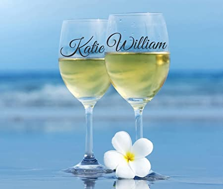 2 x personalised name wine glass vinyl stickers decals