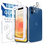 Arae 2 Pack Camera Lens Protector for iPhone 12 + 2 Pack Screen Protector, HD Tempered Glass Anti Scratch Work with Most Case