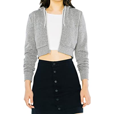 American Apparel Women's Peppered Fleece Cropped Long Sleeve Hoodie: Clothing