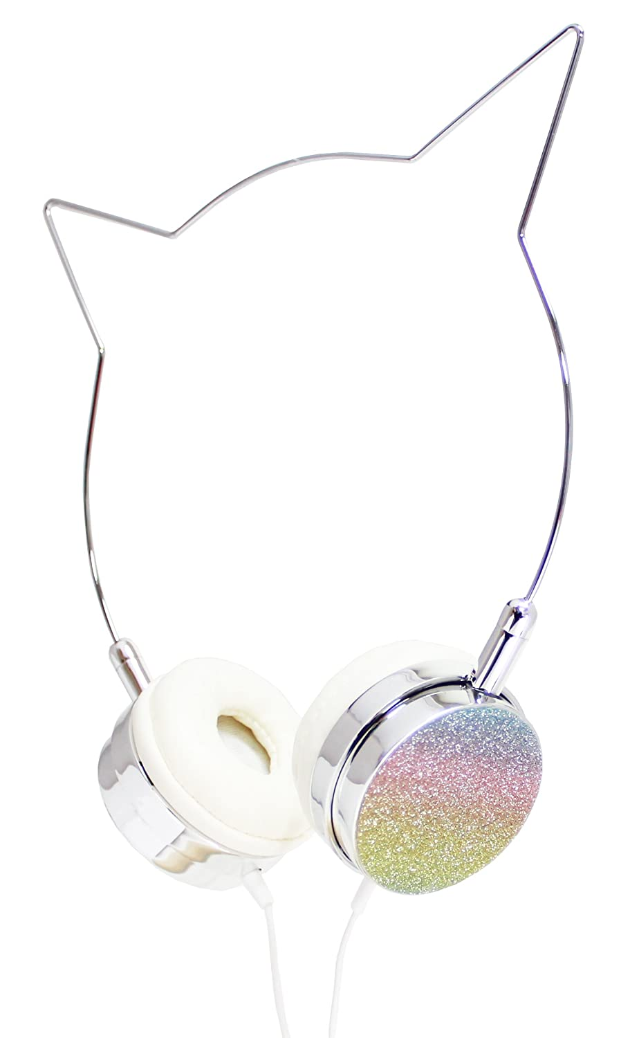 Kitty Cat Ear Headphones - Wire Frame Headset with Volume Control and Microphone - Silver & Rainbow American Jewel LLC 8256NA