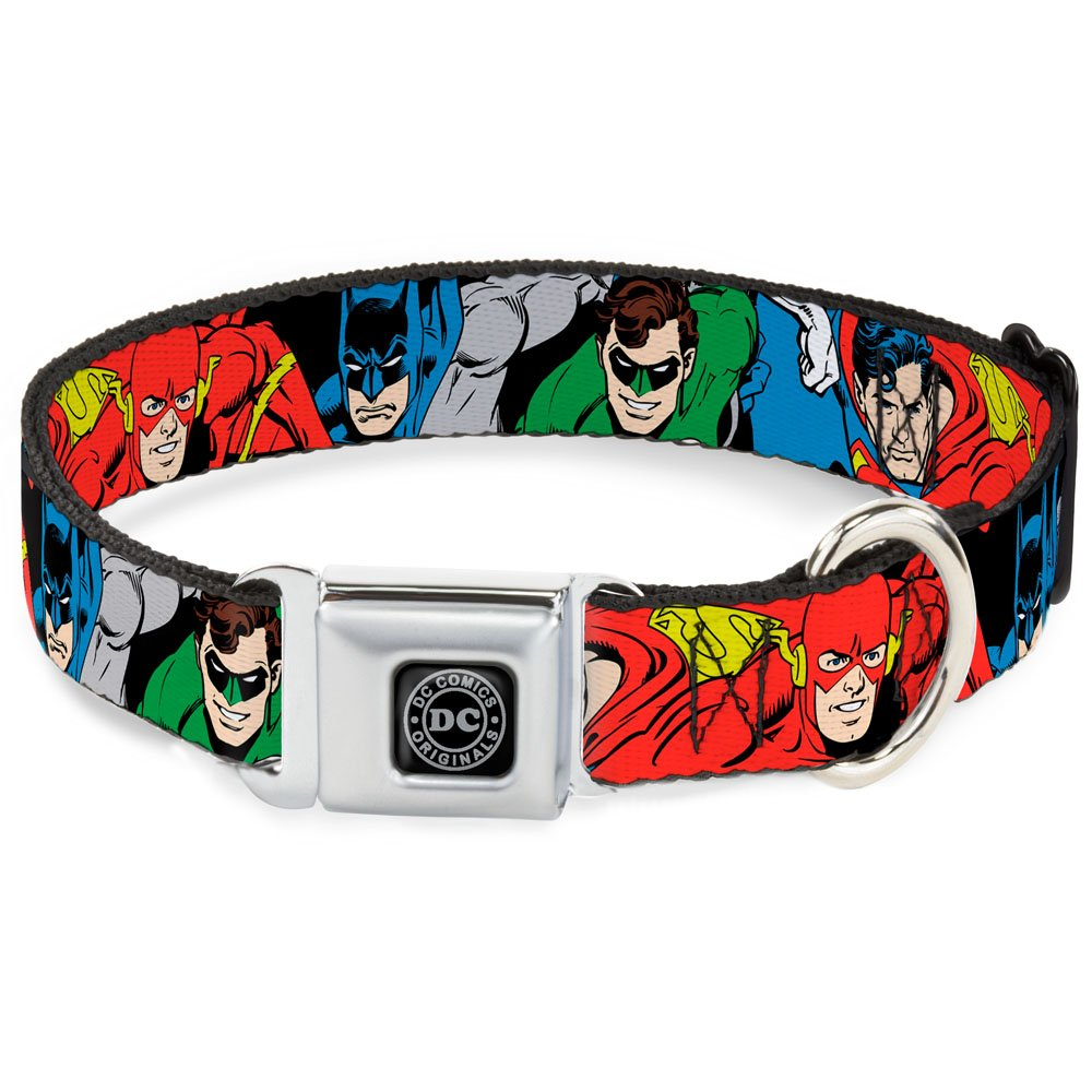 Buckle-Down Seatbelt Buckle Dog Collar Justice League Superheroes Close-UP New 1  Wide Fits 9-15  Neck Small