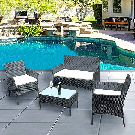Panana - Juego de Muebles de jardín y sillas de Mimbre de 4 Piezas, Mesa de jardín y sillas de conversación al Aire Libre: Amazon.es: Jardín