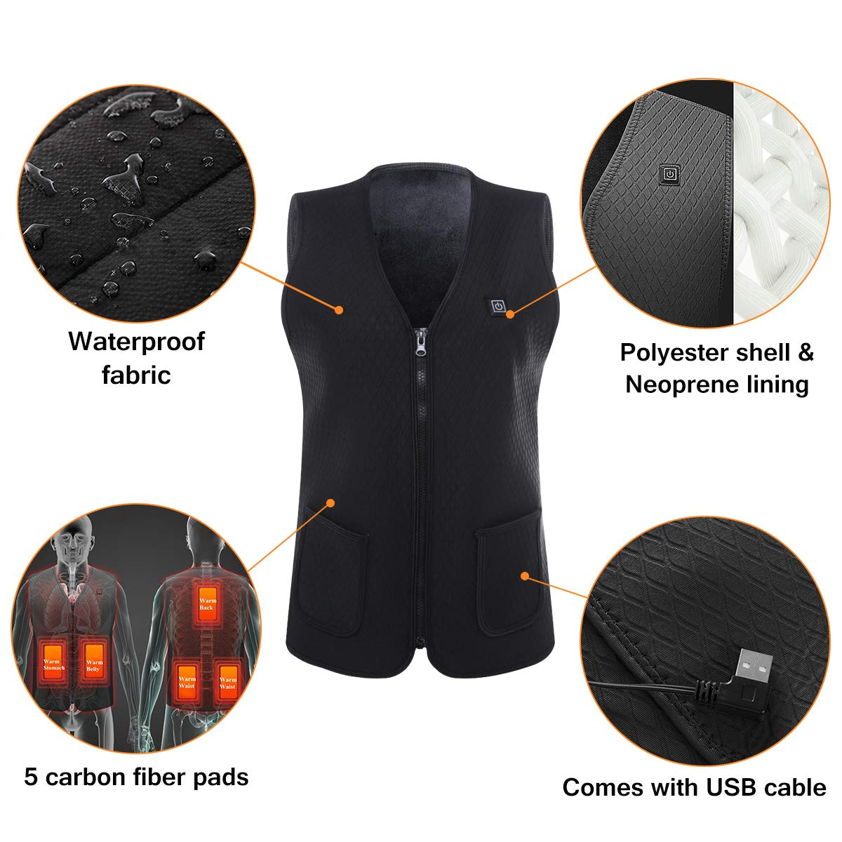 Slimerence Mens Electric Heated Vest USB Charging Washable Cold-Proof for Sports Hiking Climbing One Button
