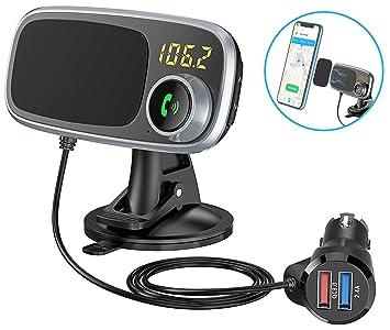 Bovon Transmisor FM Bluetooth Coche Manos Libres & Soporte Movil Coche Magnetico, Kit de Coche 2 en 1 con Carga Rápida 3.0 Dual USB Cargador de Coche ...
