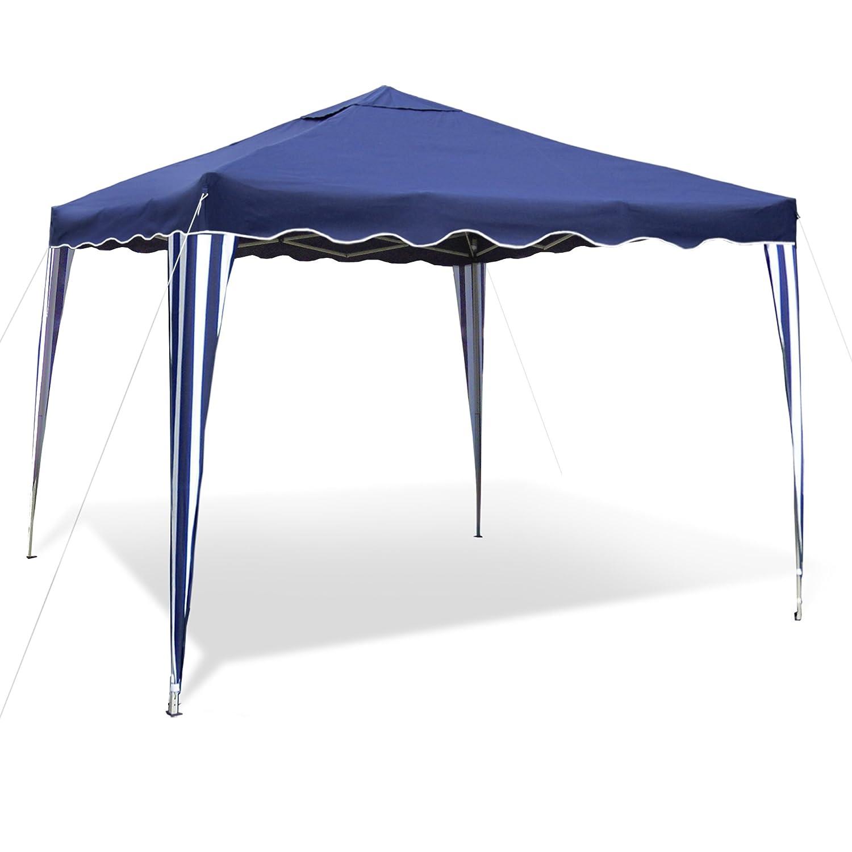 JOM Gartenpavillon Falt-Pavillon 3 x 3 m, Dach blau, Material Oxford 200D, Metallgestänge, wasserabweisend, inklusiv Tasche, ohne Seitenwände, blau