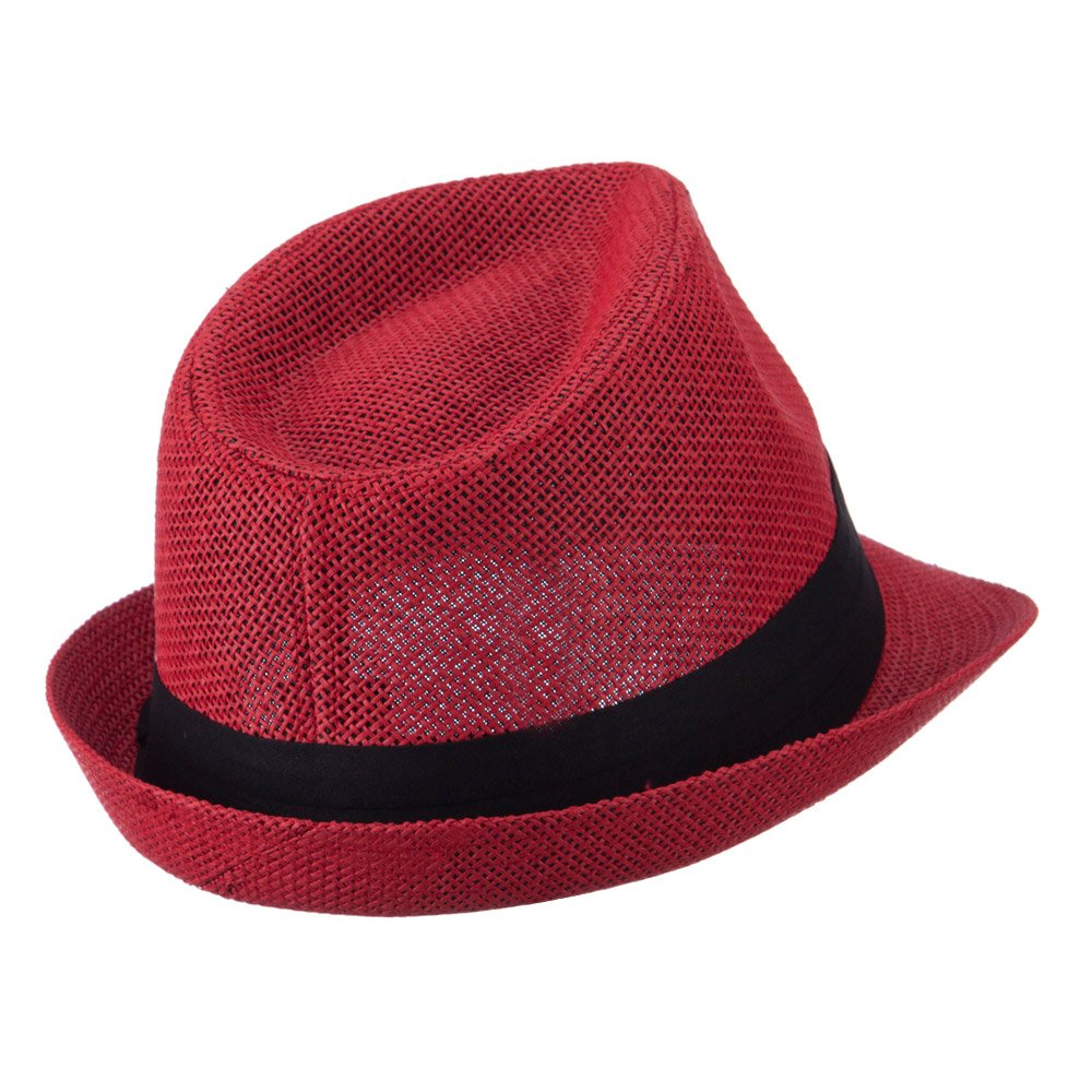 cdf477755e1 Pleated Hat Band Straw Fedora Hat - Red OSFM at Amazon Men s Clothing store