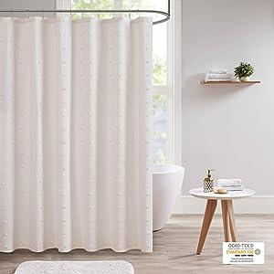 Urban Habitat Brooklyn Cotton Fabric Shower Curtain Jacquard Pom Machine Washable Shabby Chic Modern Home Bathroom Décor Bathtub Privacy Screen, 70