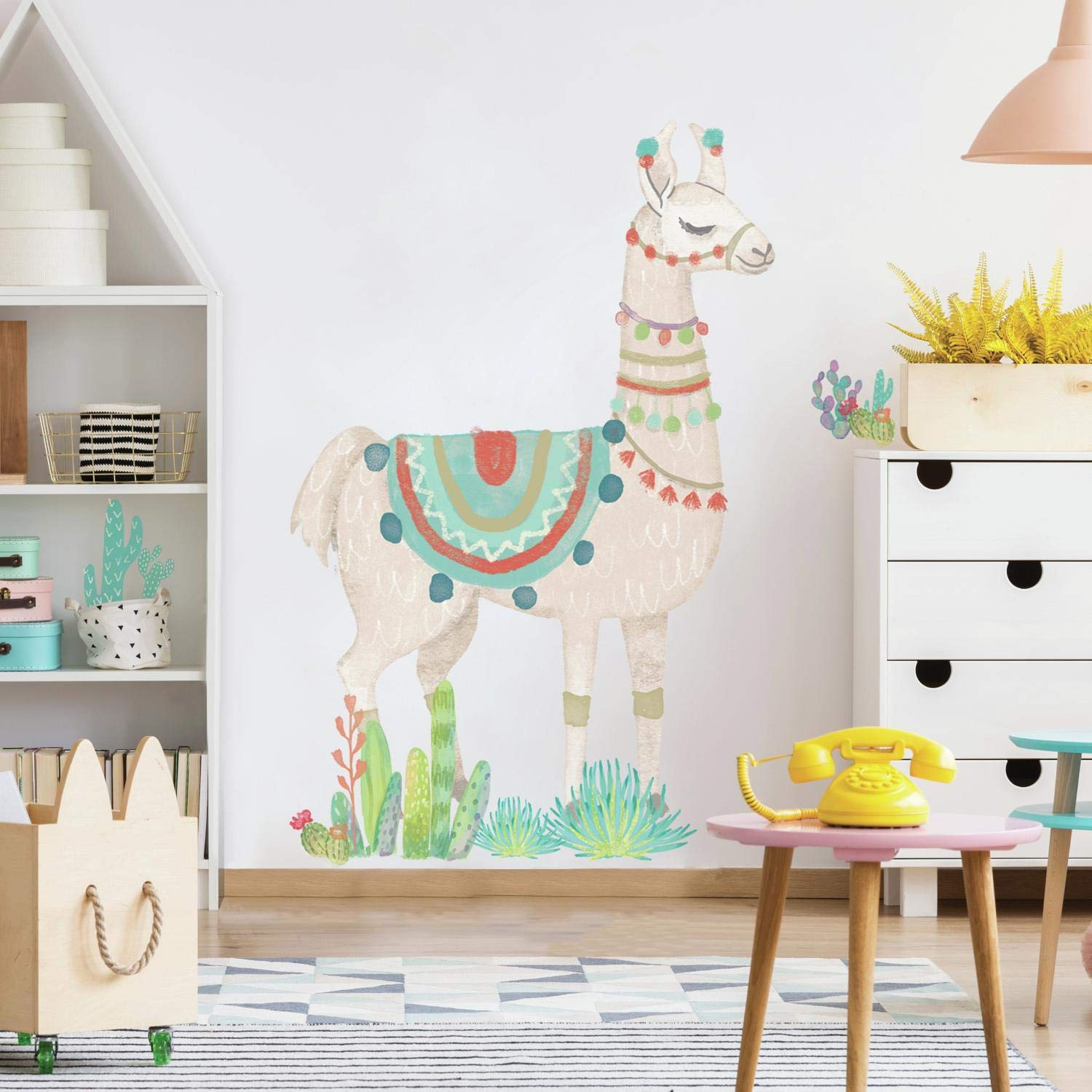 RoomMates Watercolor Llama Peel And Stick Giant Wall Decals, tan, green, blue, 1 Sheet 36.5 inches x 17.25 inches / 1 Sheet at 9 inches x 36.5 inches - RMK3839GM