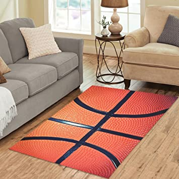 InterestPrint Home Decoration Close Up Of Basketball Ball Area Rug Carpet  5u0027x 3u0027