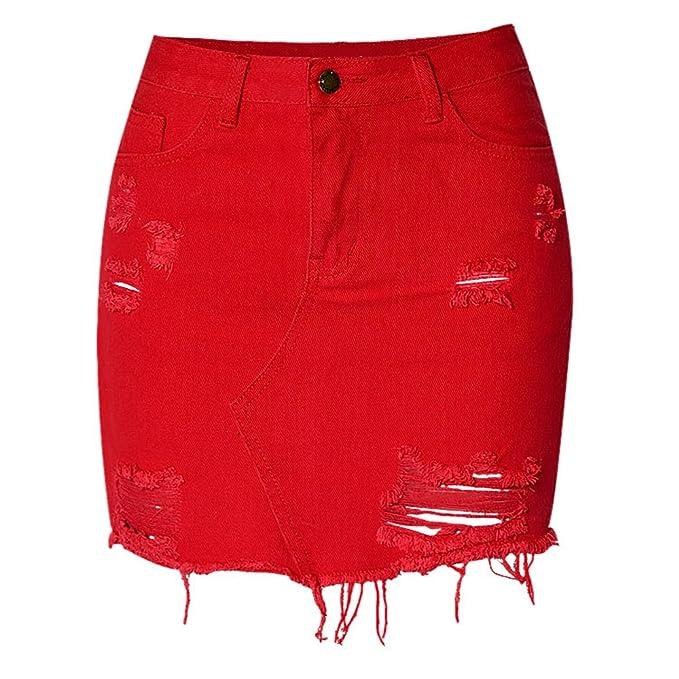 Amazon.com: Meet Nice - Falda corta de mezclilla con perlas ...