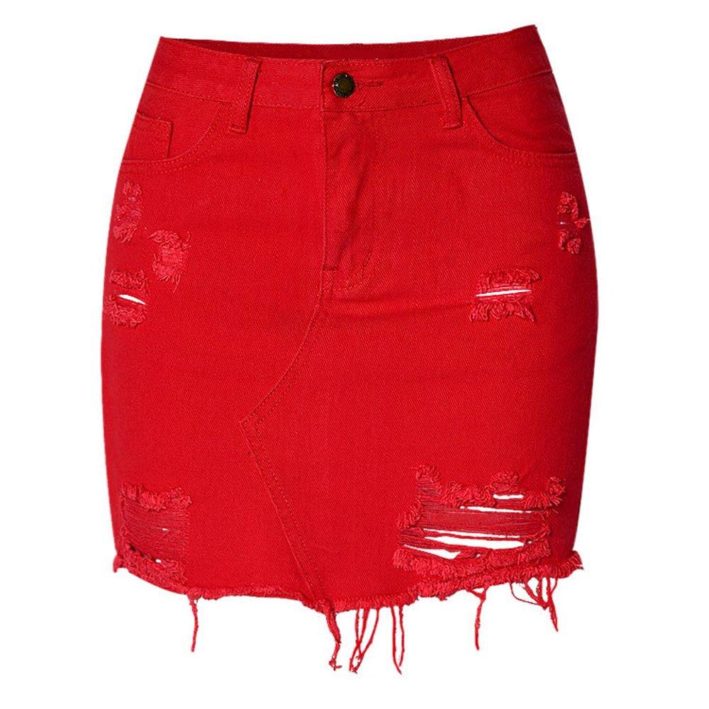 Meet Nice Women's High-Waist Ripped Holes Denim Bodycon Short Skirt (XL, Red)