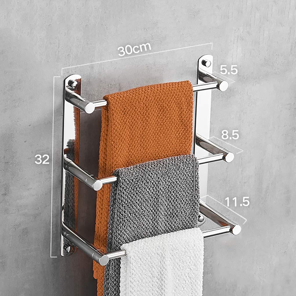 Porte-serviettes de salle de bains en acier inoxydable 304 à trois niveaux (taille : 30cm) yuyandejia