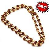 Neelam Ratna 100% Rudraksha 54+1 Beads Original Rosary with Golden Cap Hindu Meditation Yoga Mala | Original Rudraksha Mala | for Men/Women / Unisex