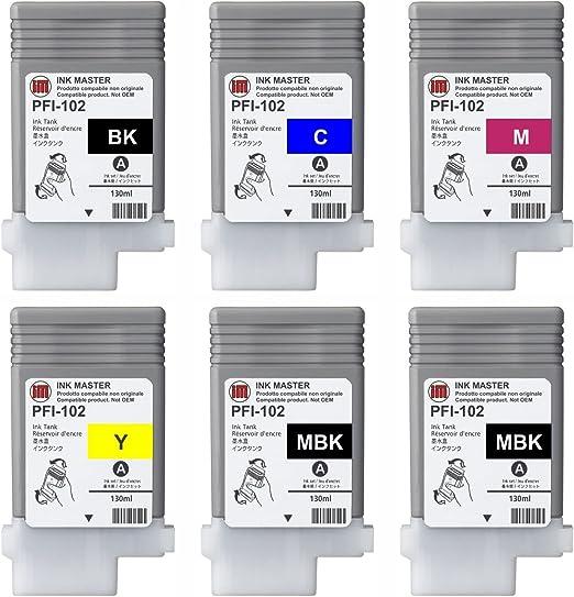 Ink Master - Set 6 Cartucho remanufacturado Canon PFI-102 CMYKMkMk para Canon IPF 500 510 600 605 610 650 655 700 710 720 750 755 760 765 LP17 LP24: Amazon.es: Electrónica