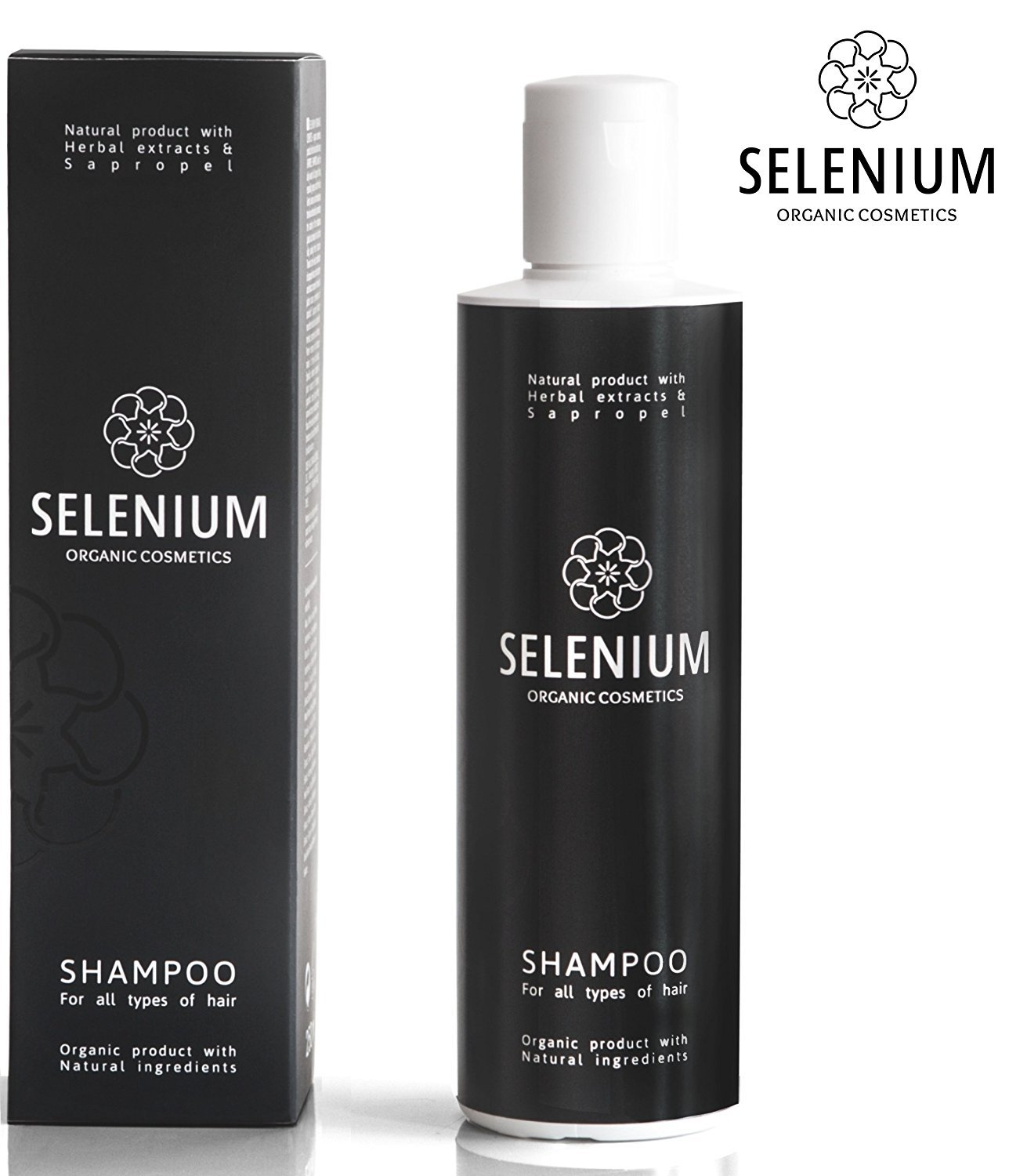 Shampoo by Selenium - Natural Organic shampoo with a Minerals Protein Vitamin Enzymes Herbal & Sapropel Extract Shampoo Anti Dandruff Soft Dry Itchy Scalp Psoriasis and Damaged Hair / 8,5oz