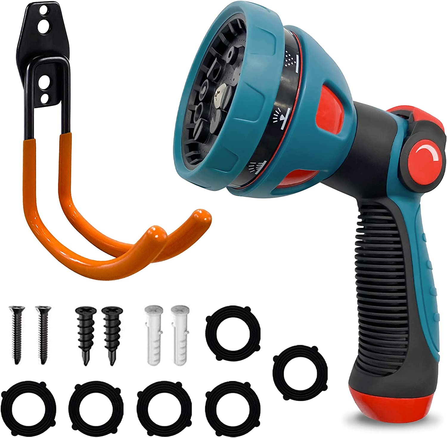 Garden Hose Nozzle,Hose Sprayer,Water Hose Nozzle for Lawns,Garden,Home,Pet,Car w/a Heavy Duty Hose Hook-Features 10 Spray Patterns Thumb Control,On Off Valve for Easy Water Control