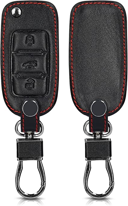 Red//Black Heavy Duty PU Leather Protective Key Fob Cover for VW Skoda SEAT 3 Button Car Key kwmobile Car Key Cover for VW Skoda Seat