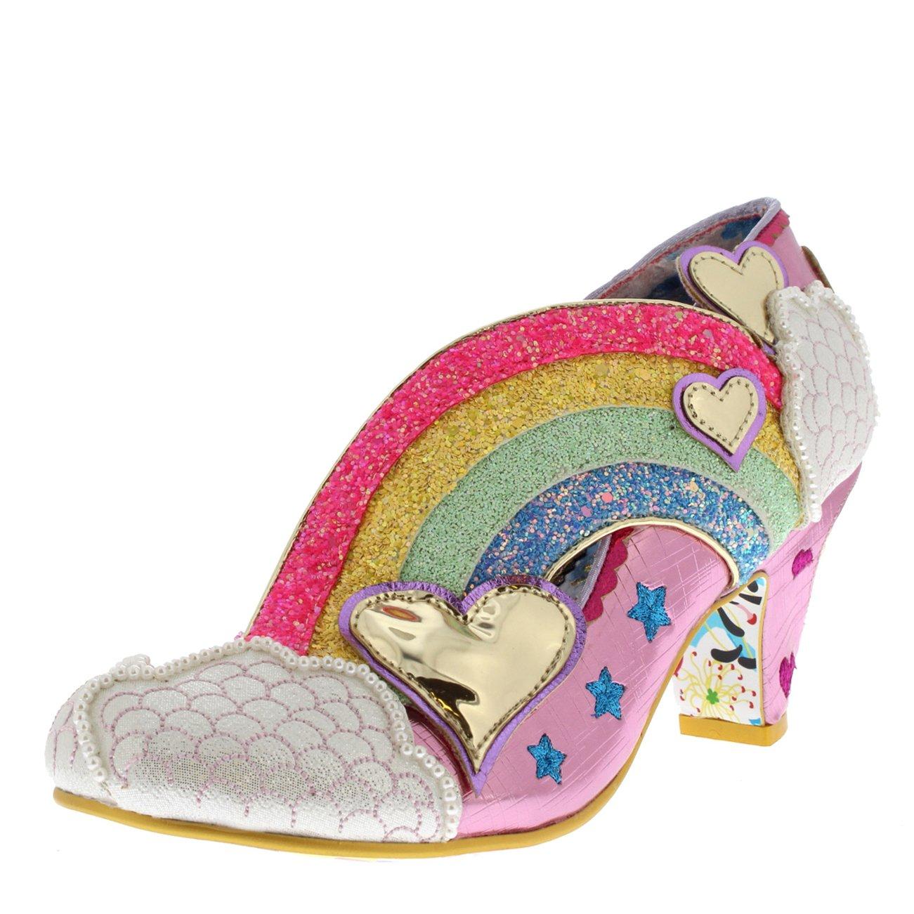 Irregular Choice Womens Summer of Love Glitter Rainbow Wedge Heels - Pink - 6.5