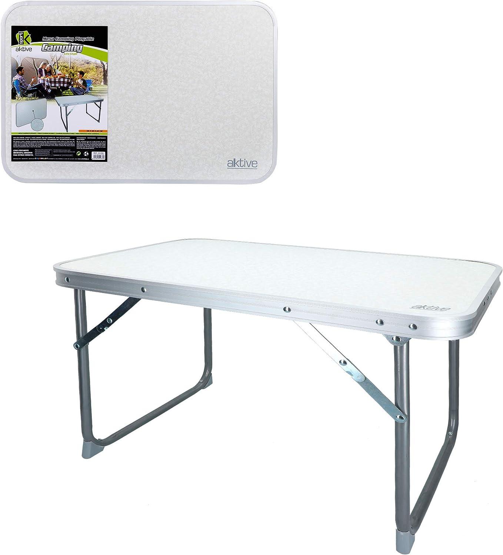 Aktive Mesa plegable baja, camping, blanca, 60x40x40 cm, 52836