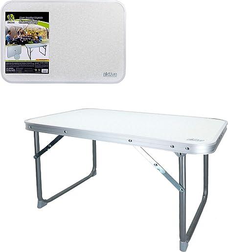 Aktive 52836 - Mesa plegable baja 60 x 40 x 40 cm Camping blanca
