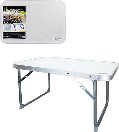 Aktive 52836 - Mesa plegable baja 60 x 40 x 40 cm Camping blanca: Amazon.es: Jardín